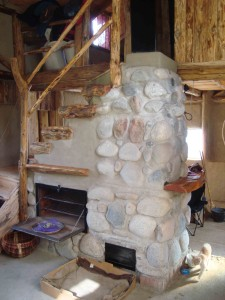 Fireplace Mass Stove Oven Water Heater And Staircase
